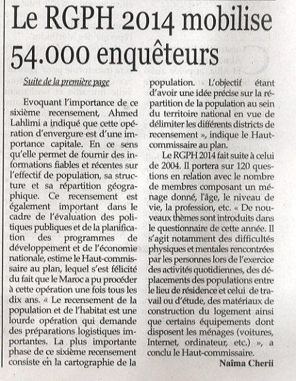 Le RGPH 2014 mobilise 54.000 enquêteurs
