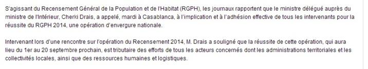 RGPH: Drais appelle à l'implication et à l'adhésion effective de tous les intervenants pour la réussite du RGPH