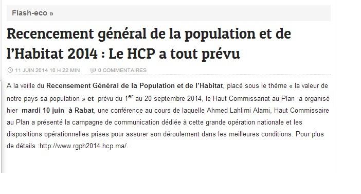 Recensement général de la population et de l'Habitat 2014: Le HCP a tout prévu