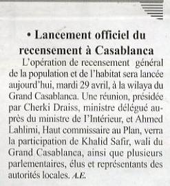 Lancement officiel du recensement à Casablanca