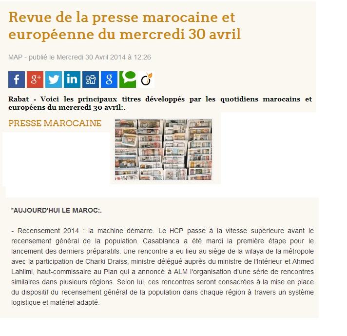 Revue de la presse marocaine et européenne du mercredi 30 avril