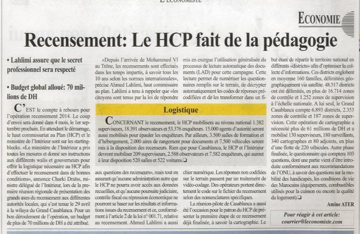 Recensement: Le HCP fait de la pédagogie