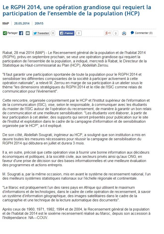 Le RGPH 2014, une opération grandiose qui requiert la participation de l'ensemble de la population (HCP)